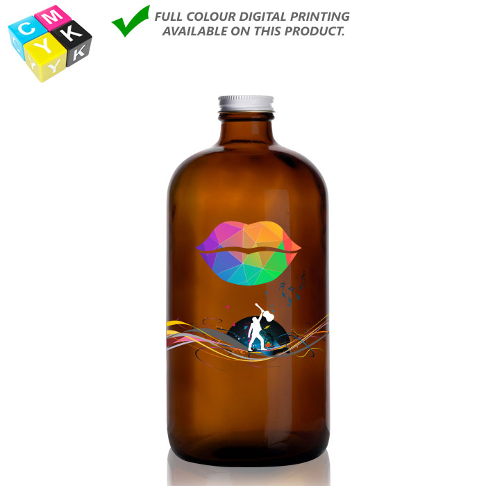 Boston Round Amber Growler_32oz 13058 Digital Printing