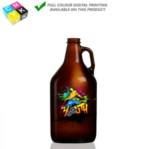 Grow Amb 32 Amber Growler 32oz Digital printing